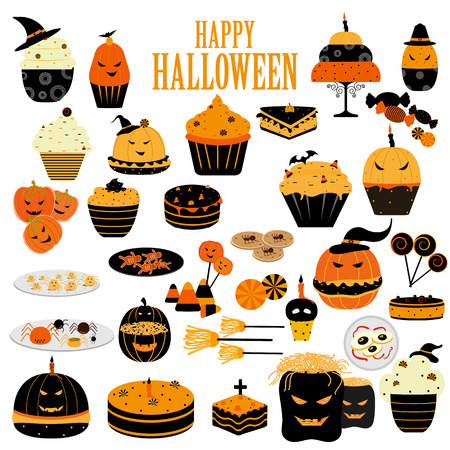easy to edit vector illustration of yummy Happy Halloween scary food and sweet Illustration