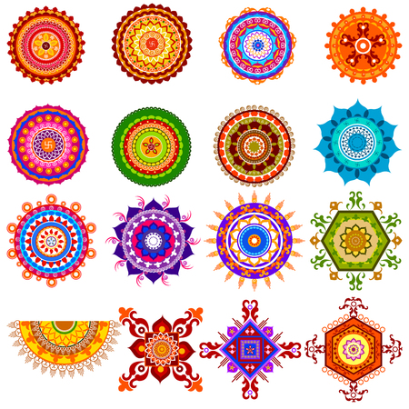 easy to edit vector illustration of collection of colorful rangoli pattern for India festival decoration Illustration