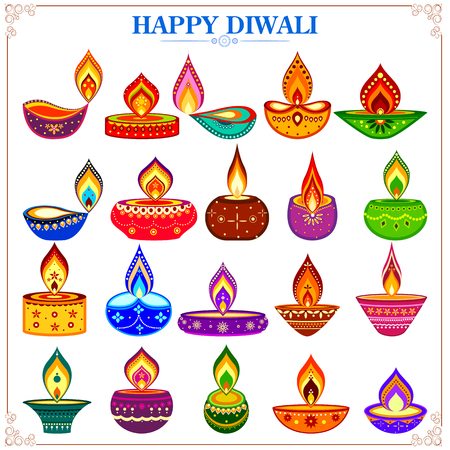 auspicious occasions: easy to edit vector illustration of collection of decorated diya for Happy Diwali holiday Illustration