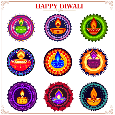 dipawali: easy to edit vector illustration of collection of decorated diya on rangoli for Happy Diwali holiday Illustration