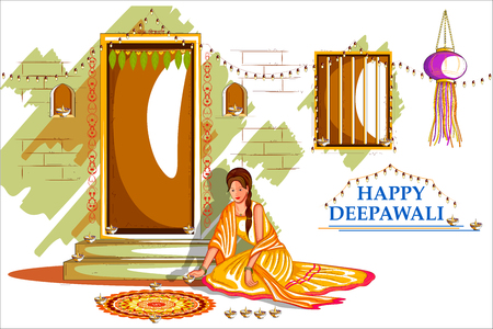 india culture: easy to edit vector illustration of Indian lady with decorated hanging light for Happy Diwali holiday India background