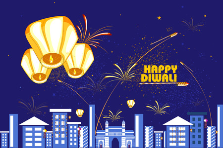 sky lantern: easy to edit vector illustration of floating lamp and firework in Diwali holiday night Illustration