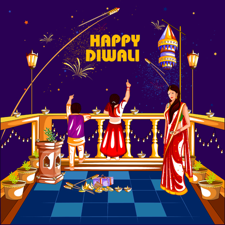 auspicious: easy to edit vector illustration of people celebrating Happy Diwali holiday India background