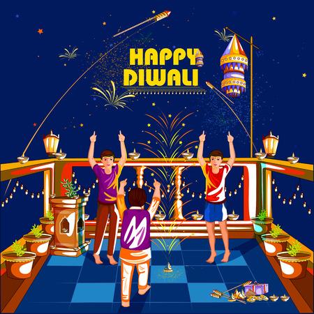 auspicious: easy to edit vector illustration of kid celebrating Happy Diwali holiday India background Illustration