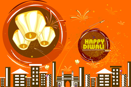 easy to edit vector illustration of floating lamp and firework in Diwali holiday night Illustration
