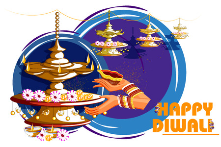 easy to edit vector illustration of Indian lady with decorated hanging light for Happy Diwali holiday India background