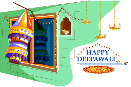easy to edit vector illustration of decorated diya with tuni bulb for Happy Diwali background