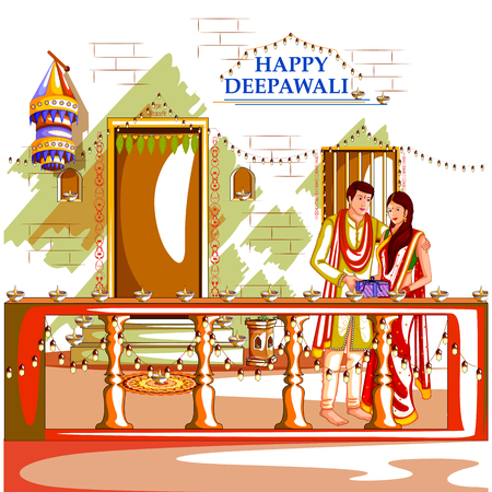 dipawali: easy to edit vector illustration of people with gift for Happy Diwali holiday background