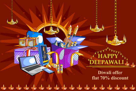 india culture: easy to edit vector illustration of Happy Diwali shopping sale offer with decorated diya for India festival