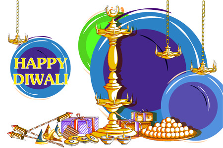 auspicious: easy to edit vector illustration of decorated diya with cracker for Happy Diwali holiday background Illustration