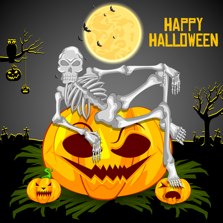 easy to edit vector illustration of Happy Halloween scary background