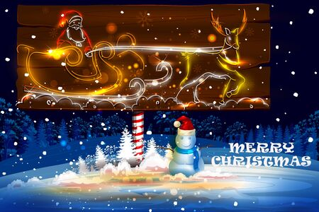 easy to edit  illustration of Santa flying in sleigh for Merry Christmas holiday celebration Illustration
