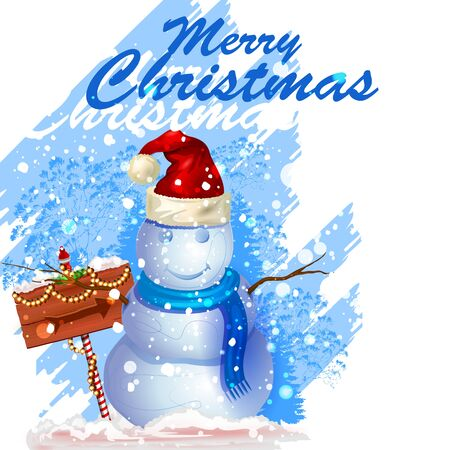 festive background: easy to edit vector illustration of Snowman in frost winter background for Merry Christmas holiday celebration Illustration