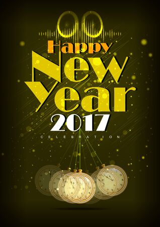 easy to edit illustration of Happy New Year 2017 party celebration poster