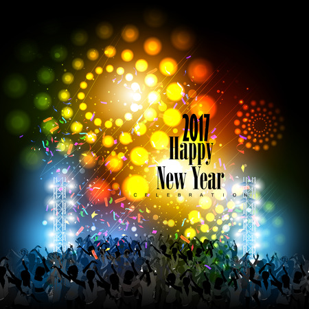 easy to edit vector illustration of Happy New Year 2017 disco party celebration poster