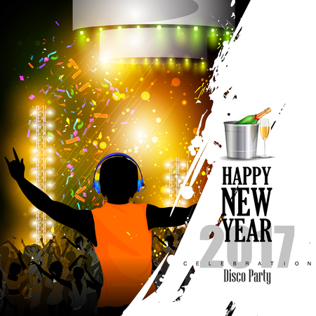 christmas drink: easy to edit vector illustration of Happy New Year 2017 disco party celebration poster