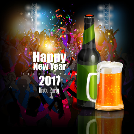 crowd happy people: easy to edit vector illustration of Happy New Year 2017 disco party celebration poster