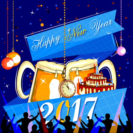 happy new years: easy to edit vector illustration of Happy New Year 2017 disco party celebration poster
