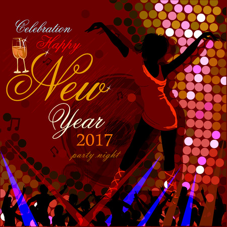 new year eve: easy to edit vector illustration of Happy New Year 2017 party celebration poster