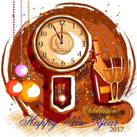 happy woman: easy to edit vector illustration of Happy New Year 2017 party celebration poster