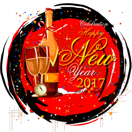 easy to edit vector illustration of Happy New Year 2017 party celebration poster
