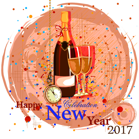 greeting cards: easy to edit vector illustration of Happy New Year 2017 party celebration poster