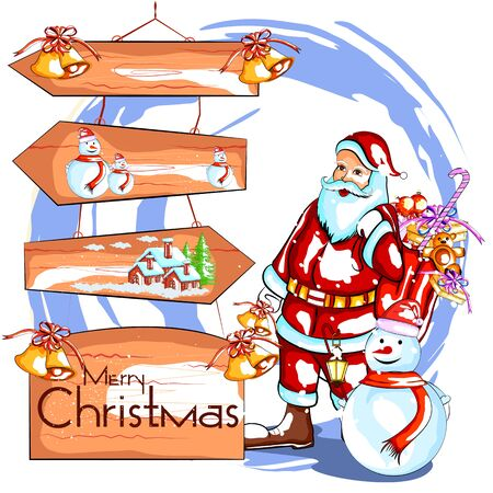 santas sack: easy to edit vector illustration of Santa Claus with gift for Merry Christmas holiday celebration