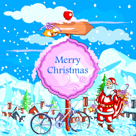 easy to edit vector illustration of Santa Claus with gift for Merry Christmas holiday celebration