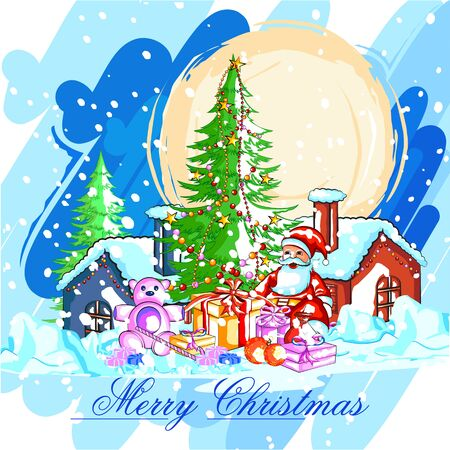 claus: easy to edit vector illustration of Santa Claus with gift for Merry Christmas holiday celebration