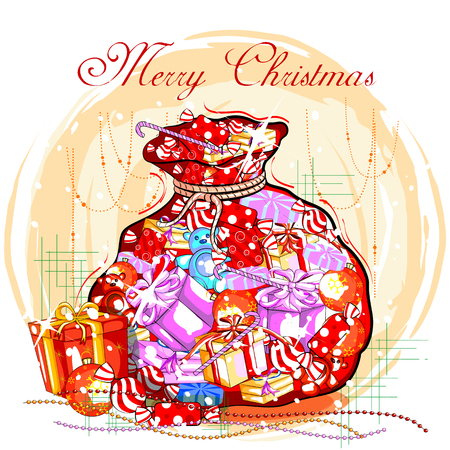 easy to edit vector illustration of colorful gift for Merry Christmas holiday celebration