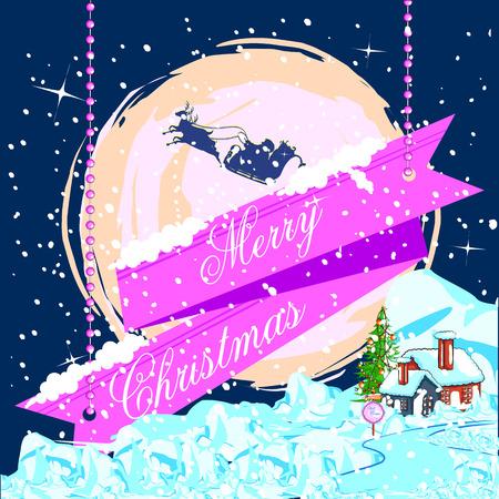 santa sleigh: easy to edit vector illustration of Santa flying in sleigh for Merry Christmas holiday celebration