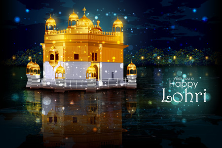gurudwara: easy to edit vector illustration on Happy Lohri festival of Punjab India background