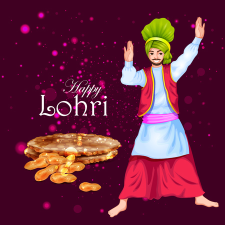 winter solstice: easy to edit vector illustration on Happy Lohri festival of Punjab India background