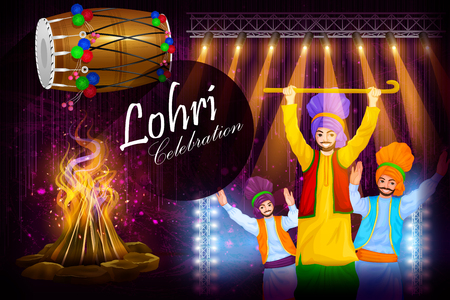 religious event: easy to edit vector illustration on Happy Lohri festival of Punjab India background