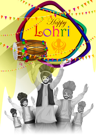 india culture: easy to edit vector illustration on Happy Lohri festival of Punjab India background