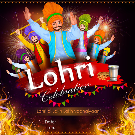 india culture: easy to edit vector illustration on festival of Punjab India background with punjabi message Lohri ki lakh lakh vadhaiyan meaning Happy wishes for Lohri Illustration