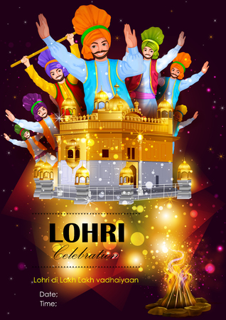 gurudwara: easy to edit vector illustration on festival of Punjab India background with punjabi message Lohri ki lakh lakh vadhaiyan meaning Happy wishes for Lohri Illustration