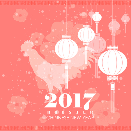 chinese new year card: easy to edit vector illustration of Happy Chinese Rooster New Year 2017 greeting background Illustration