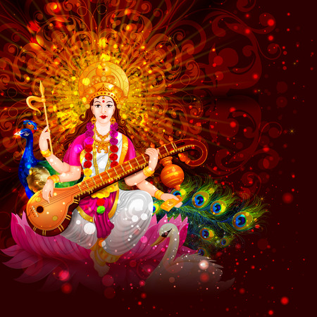 easy to edit vector illustration of Goddess Saraswati for Vasant Panchami Puja of India
