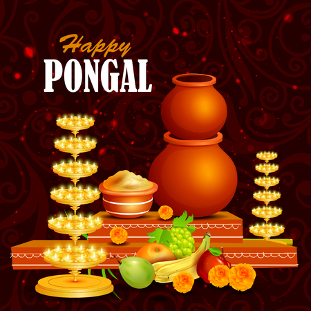 dharma: easy to edit vector illustration of Happy Pongal festival of Tamil Nadu India background