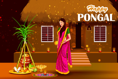 auspicious: easy to edit vector illustration of Happy Pongal festival of Tamil Nadu India background