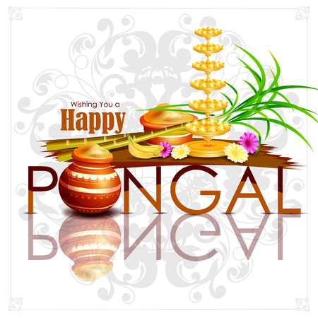 offering: easy to edit vector illustration of Happy Pongal festival of Tamil Nadu India background