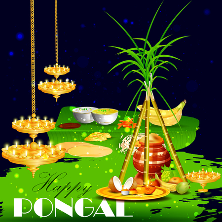 india culture: easy to edit vector illustration of Happy Pongal festival of Tamil Nadu India background