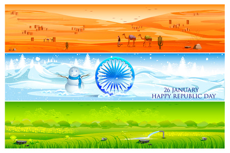 plateau: easy to edit vector illustration of background in tricolor showing diversity of nature and landscape of India Illustration