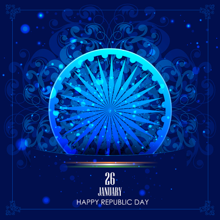 easy to edit vector illustration of Ashoka Chakra on Happy Republic Day of India background