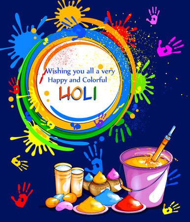 india culture: Colorful Happy Hoil background for festival of colors in India Illustration