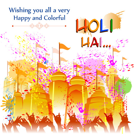 panchami: Colorful Happy Hoil background for festival of colors in India Illustration