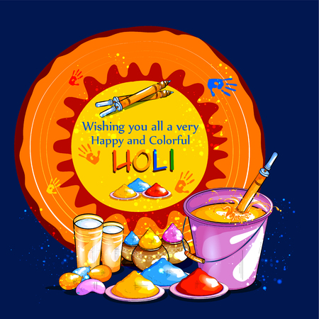 Colorful Happy Hoil background for festival of colors in India Illustration