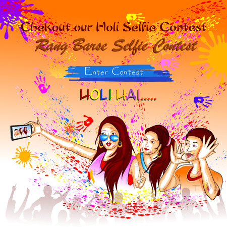 pichkari: Colorful Happy Hoil background for festival of colors in India Illustration