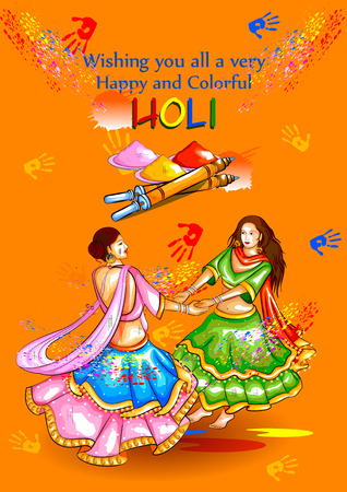 pichkari: easy to edit vector illustration of colorful Happy Hoil background for festival of colors in India
